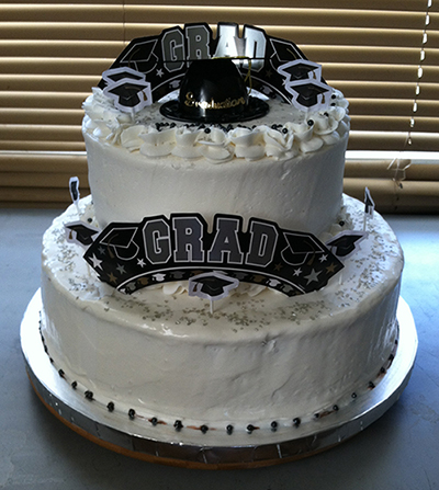 """Congrats Grad"" Graduation Black and White Cake"