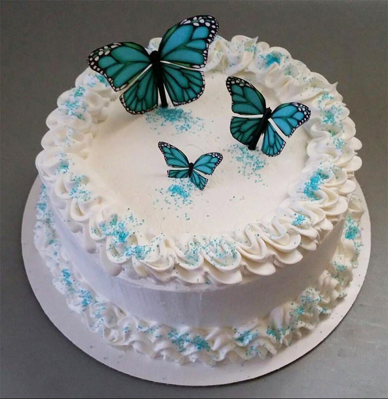 """""""Turquoise Butterflies"""" Quinceanera Cakes"""