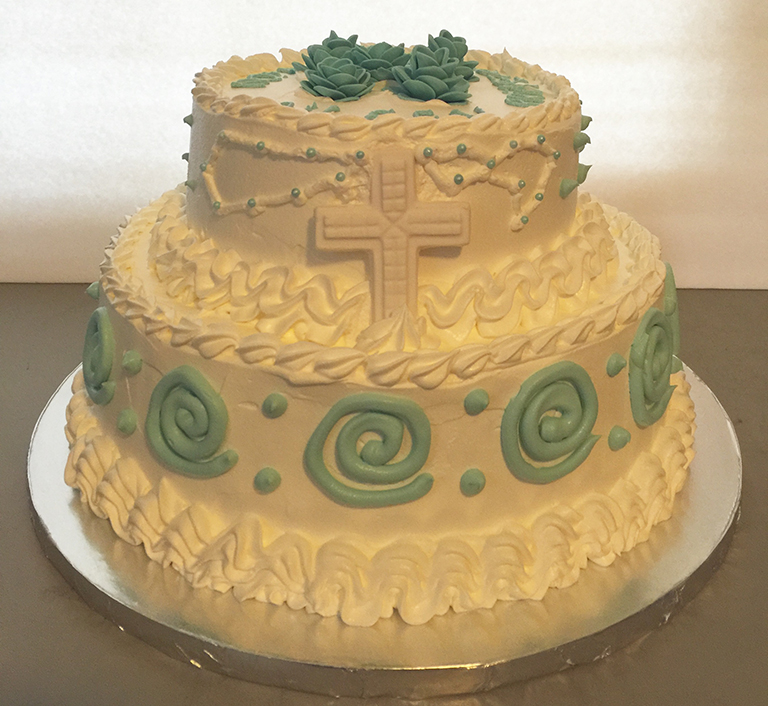 """First Communion"" Holy Cross Cake"