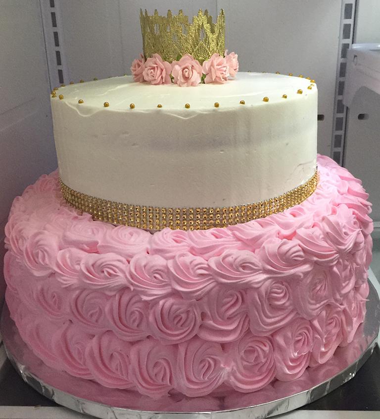 Rosettes Cakes In Pink For Elegant Baby Shower