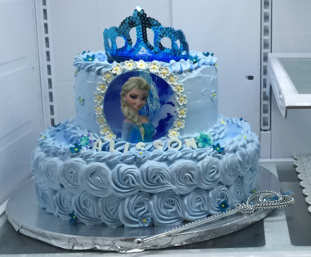 """Frozen Elsa Blue Crown"" Cake"