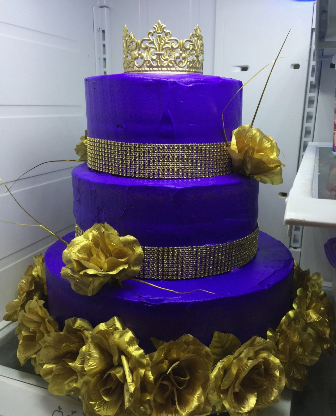 """Quinceanera Princess"" Gold Crown & Gold Roses Purple Cake"
