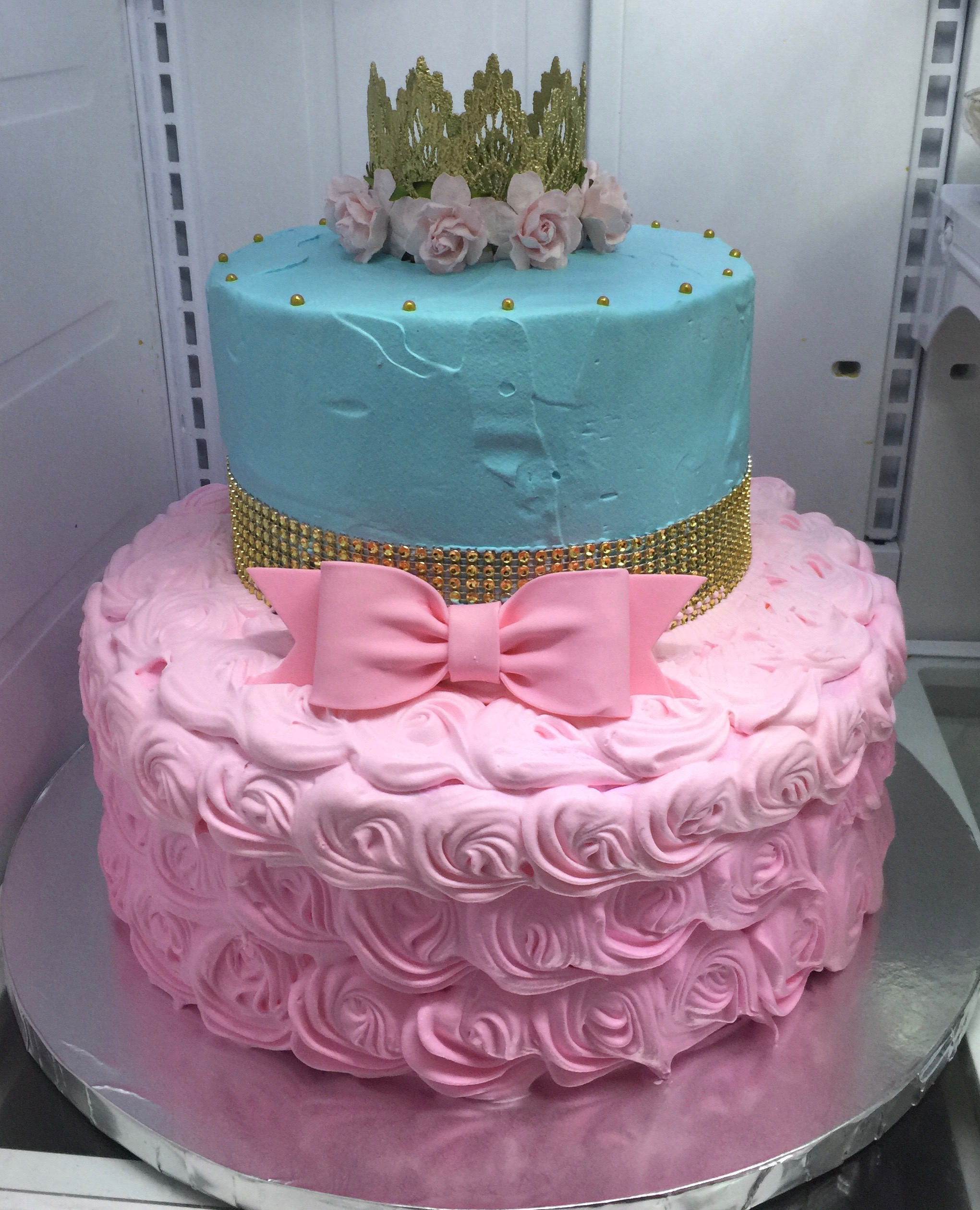 """Baby Shower Princess"" Gold, Teal & Pink Bow Cake"