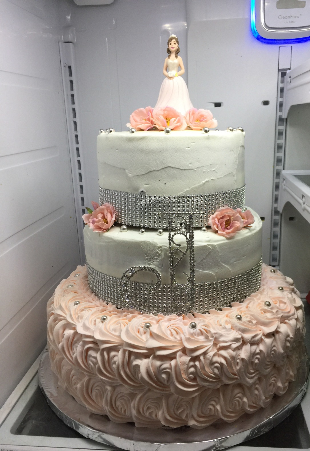 """Quinceanera Doll"" Peach & Silver Rhinestone Cake"