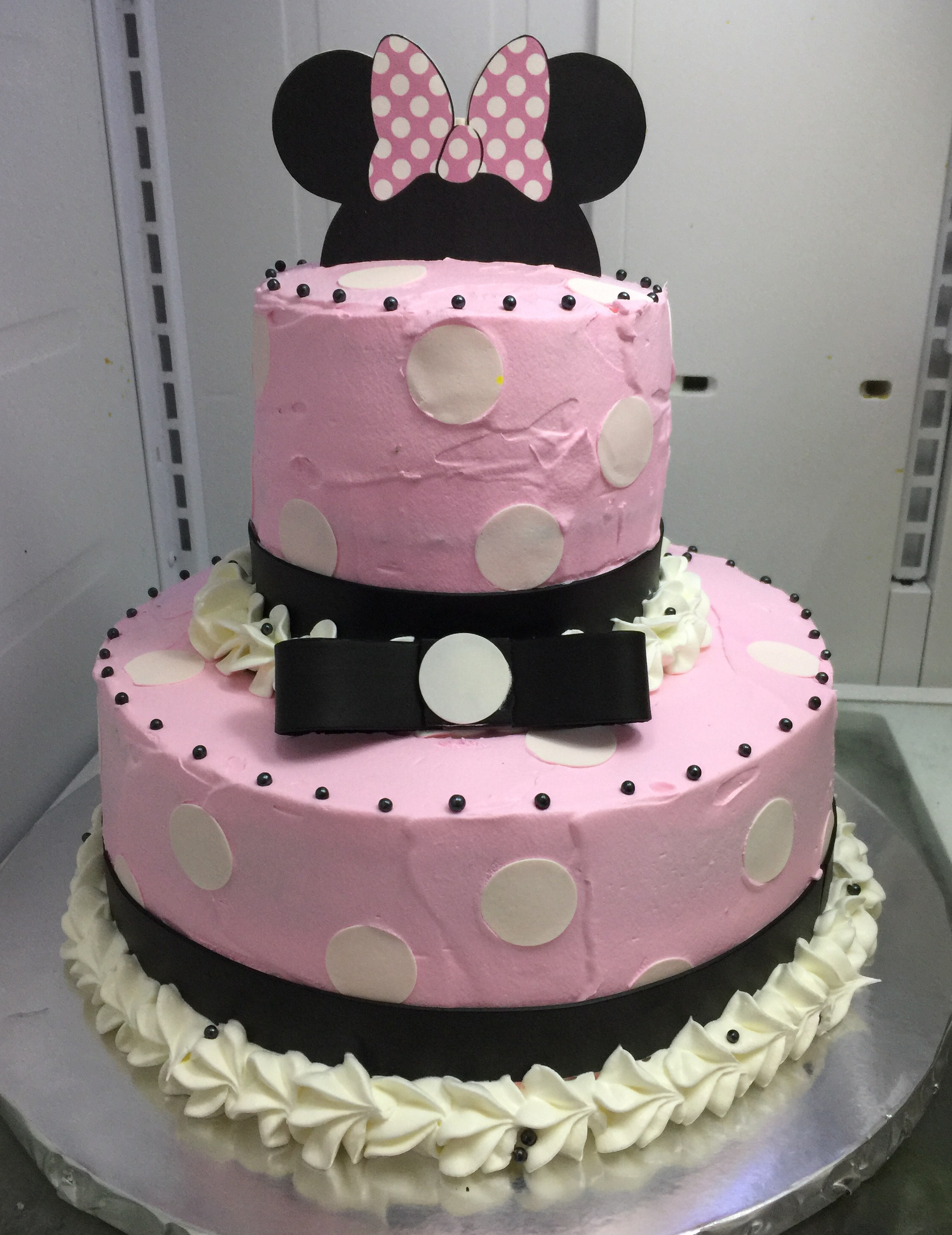 """Minnie Mouse"" Baby Polka Dot Pink Cake"