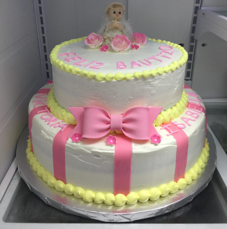 """Baptism"" Pink Bow Cake"