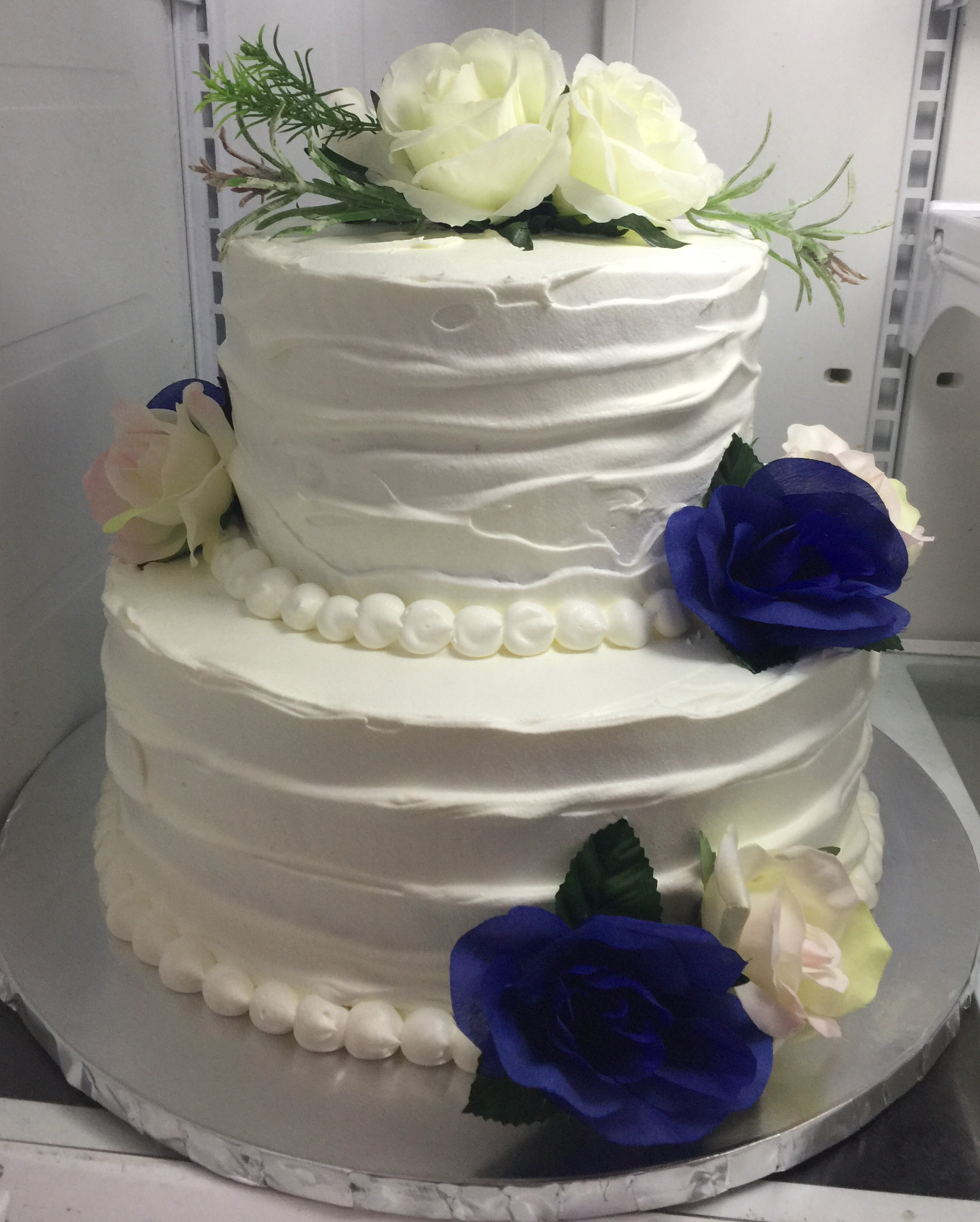 """White & Navy Blue Roses"" Wedding Cake"