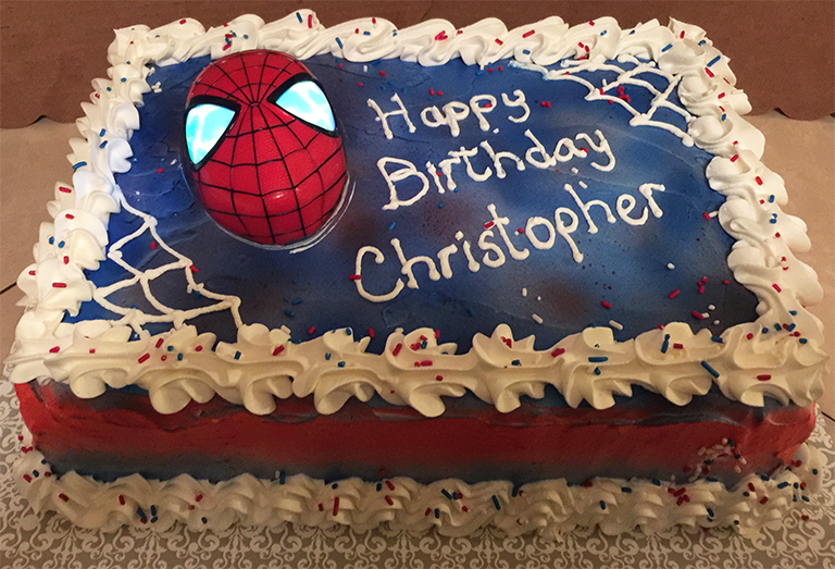 """Spider-Man Glowing Eyes"" Birthday Cake"