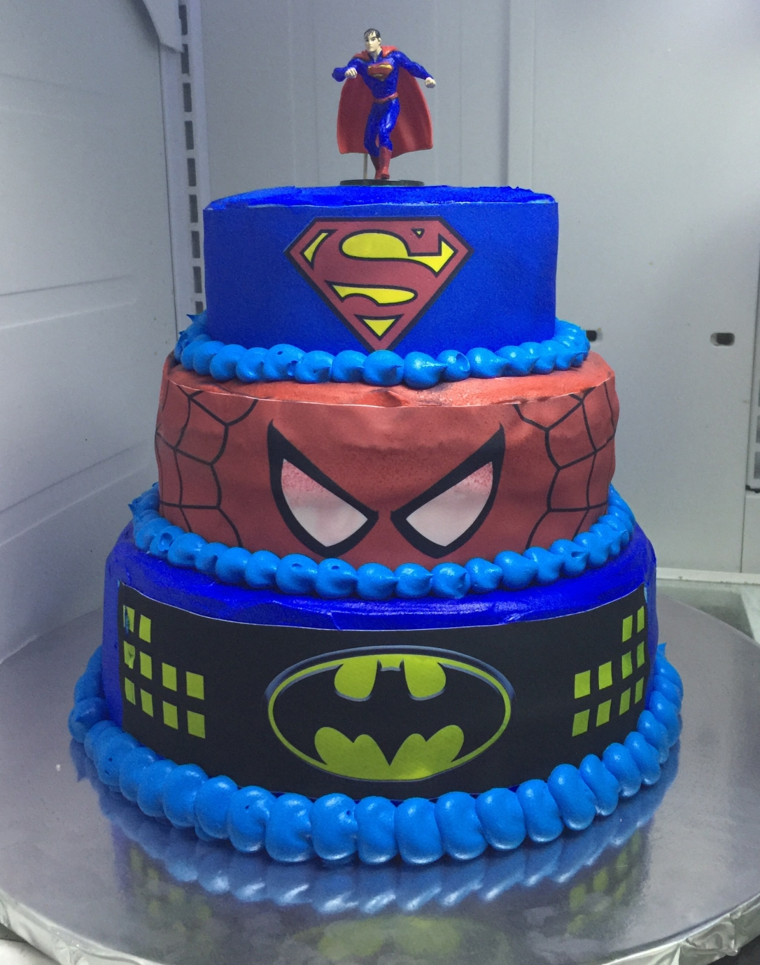 """Superman, Spider-Man & Batman"" Birthday Cake"