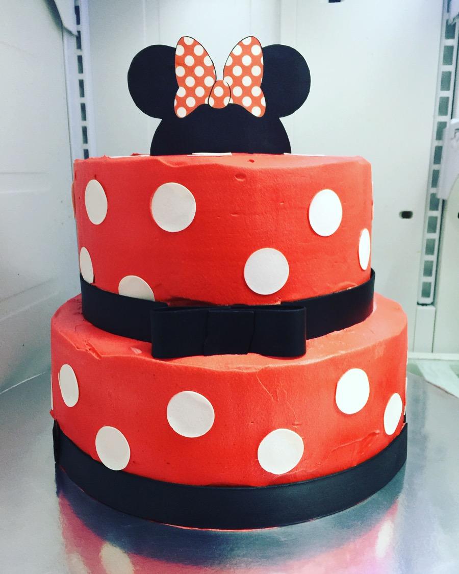 """Minnie Mouse"" White Polka Dot Red Cake"