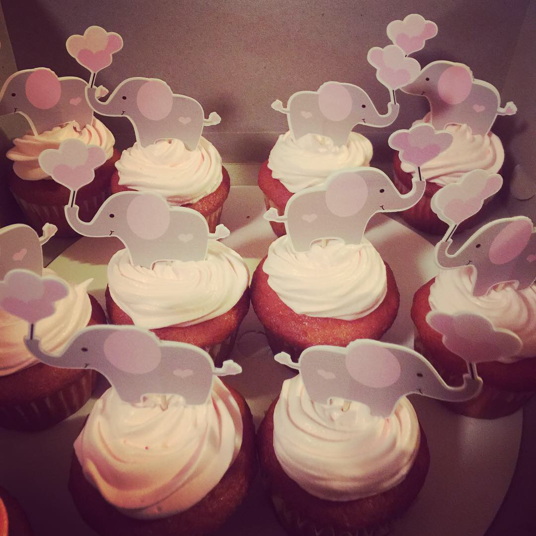 """Baby Elephant"" Girl Baby Shower Cake & Cupcakes"
