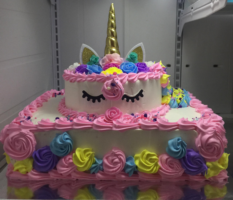 """Multicolor Flowers Unicorn"" Birthday Cake"
