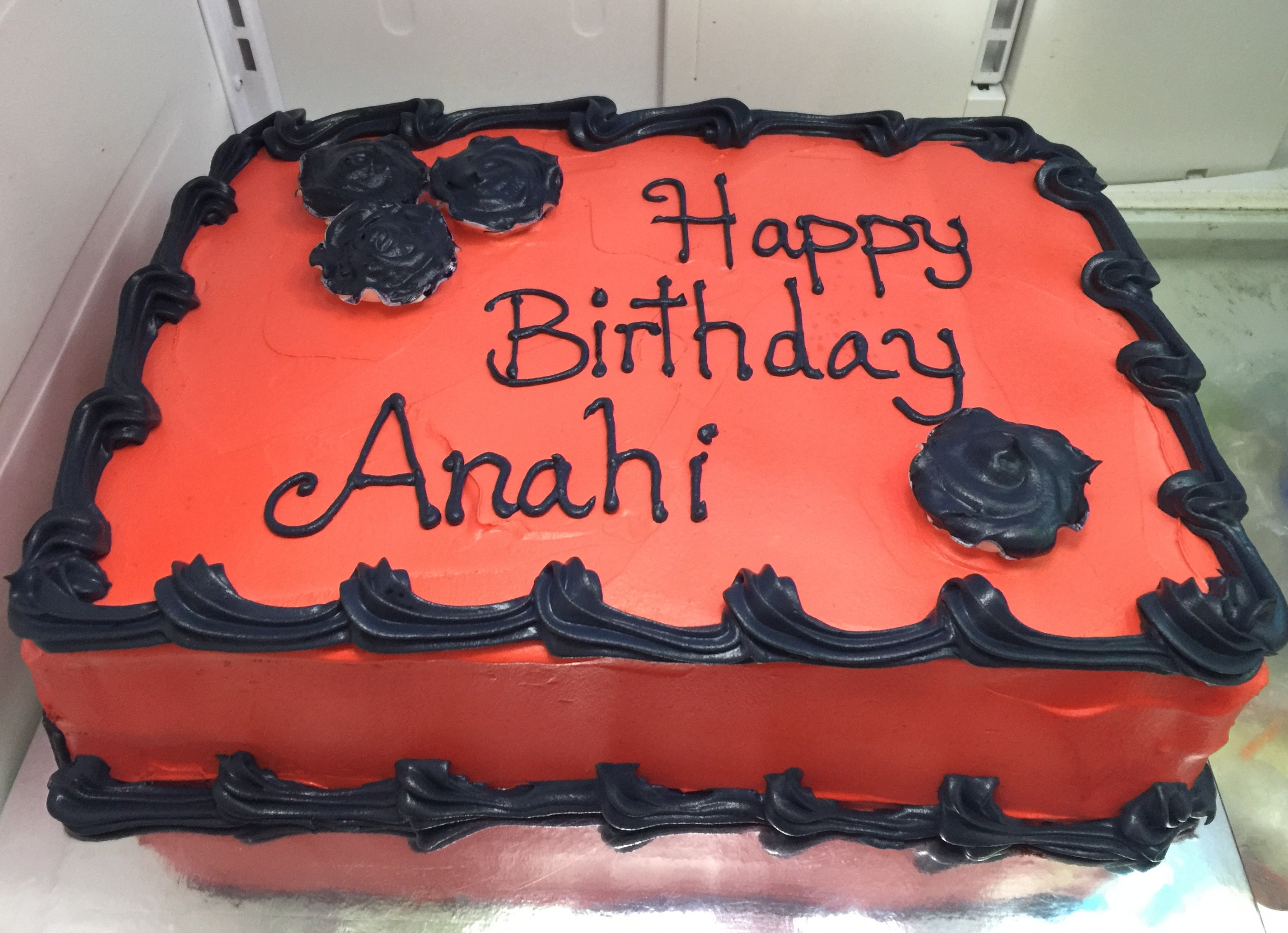 """Red & Black Roses"" Birthday Cake"