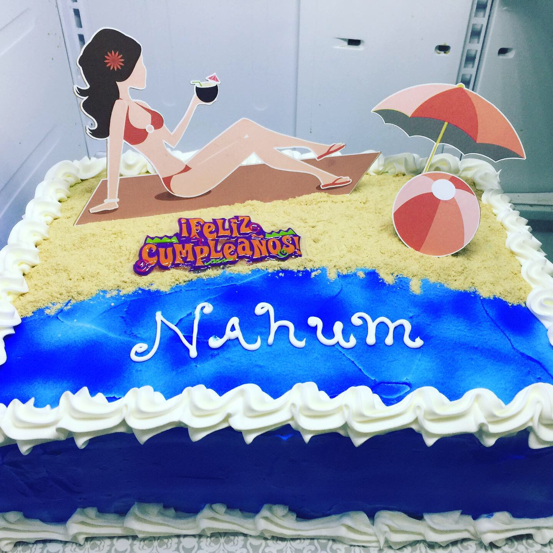 """Woman On Beach"" Birthday Cake"
