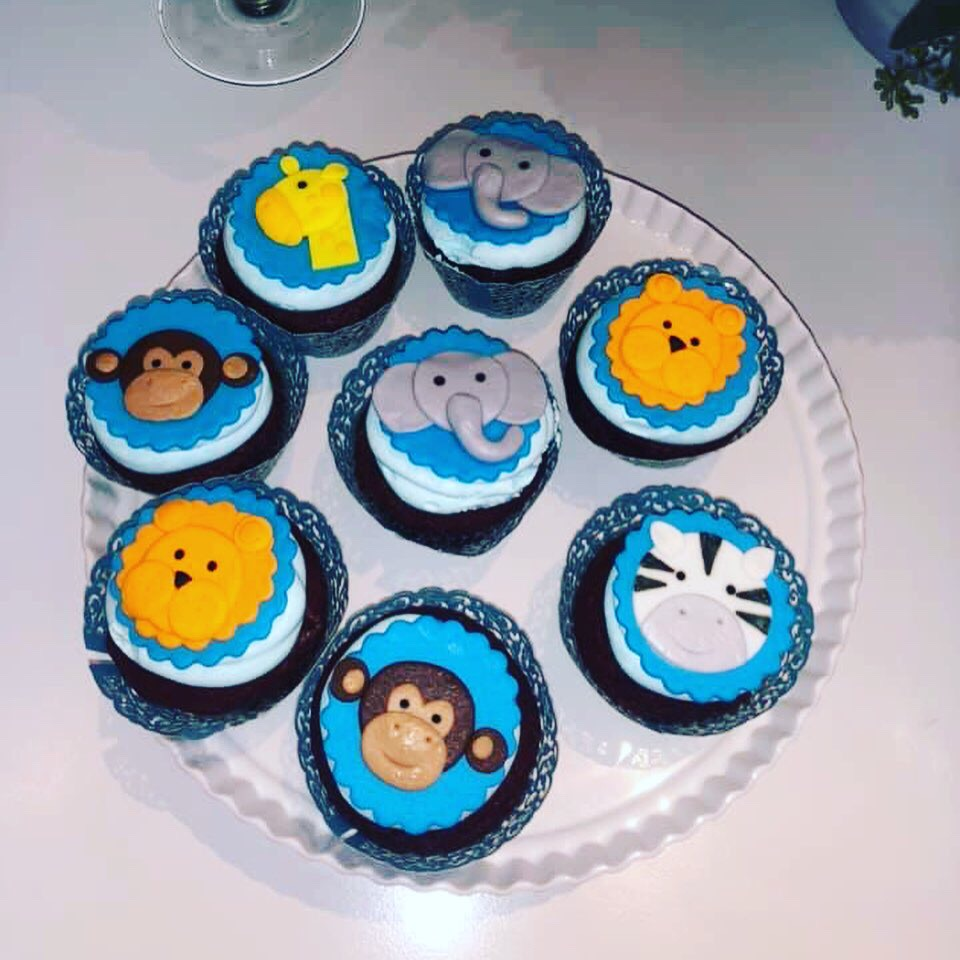 """Baby Safari Animals"" Baby Shower Cupcakes"