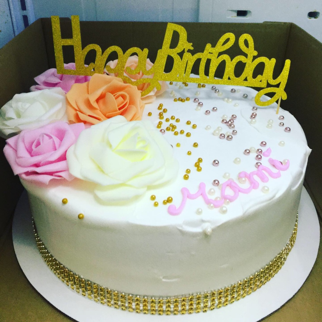 """Rose & Peach Flowers"" Birthday Cake"